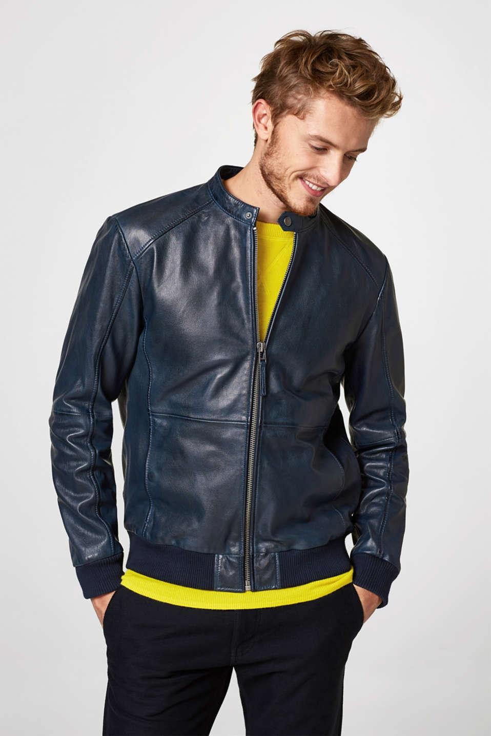 esprit veste de motard en cuir de ch vre acheter sur la boutique en ligne. Black Bedroom Furniture Sets. Home Design Ideas