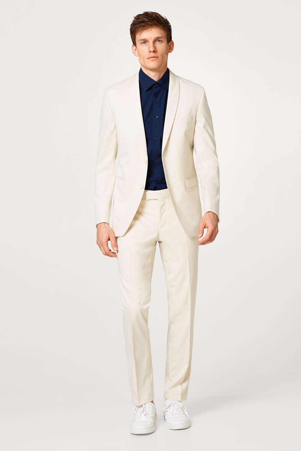 Pale suit jacket + added stretch for comfort
