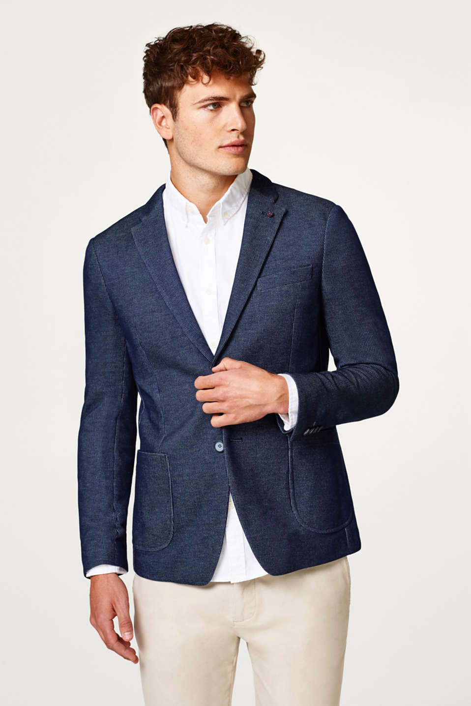Esprit - Textured blazer in a two-tone look