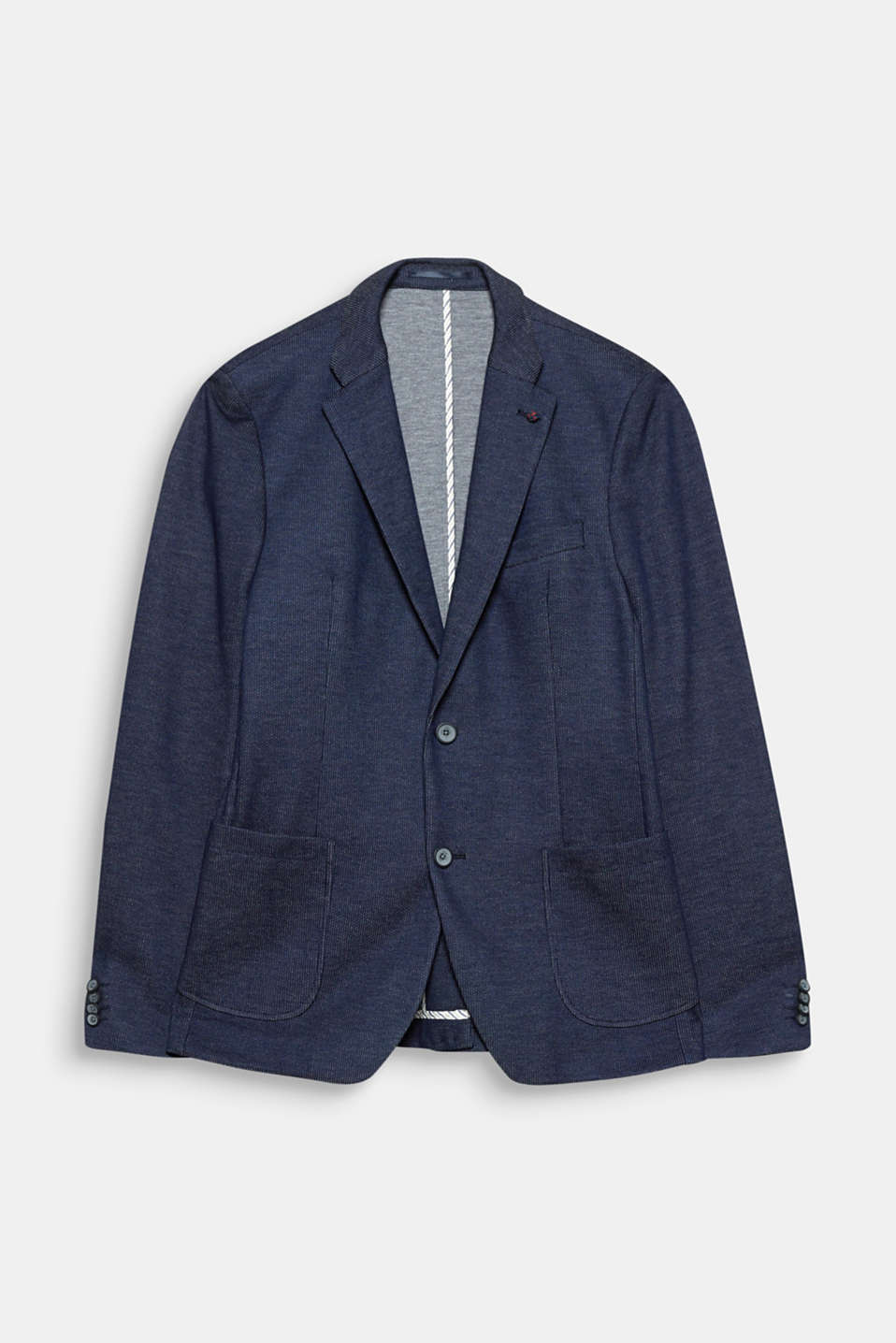Extra slim! The textured two-tone fabric and the extra slim fit make this sporty blazer super modern.