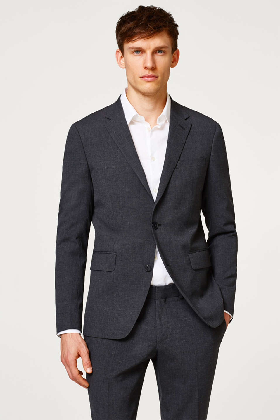 Esprit - Slim fitting suit jacket in stretchy twill