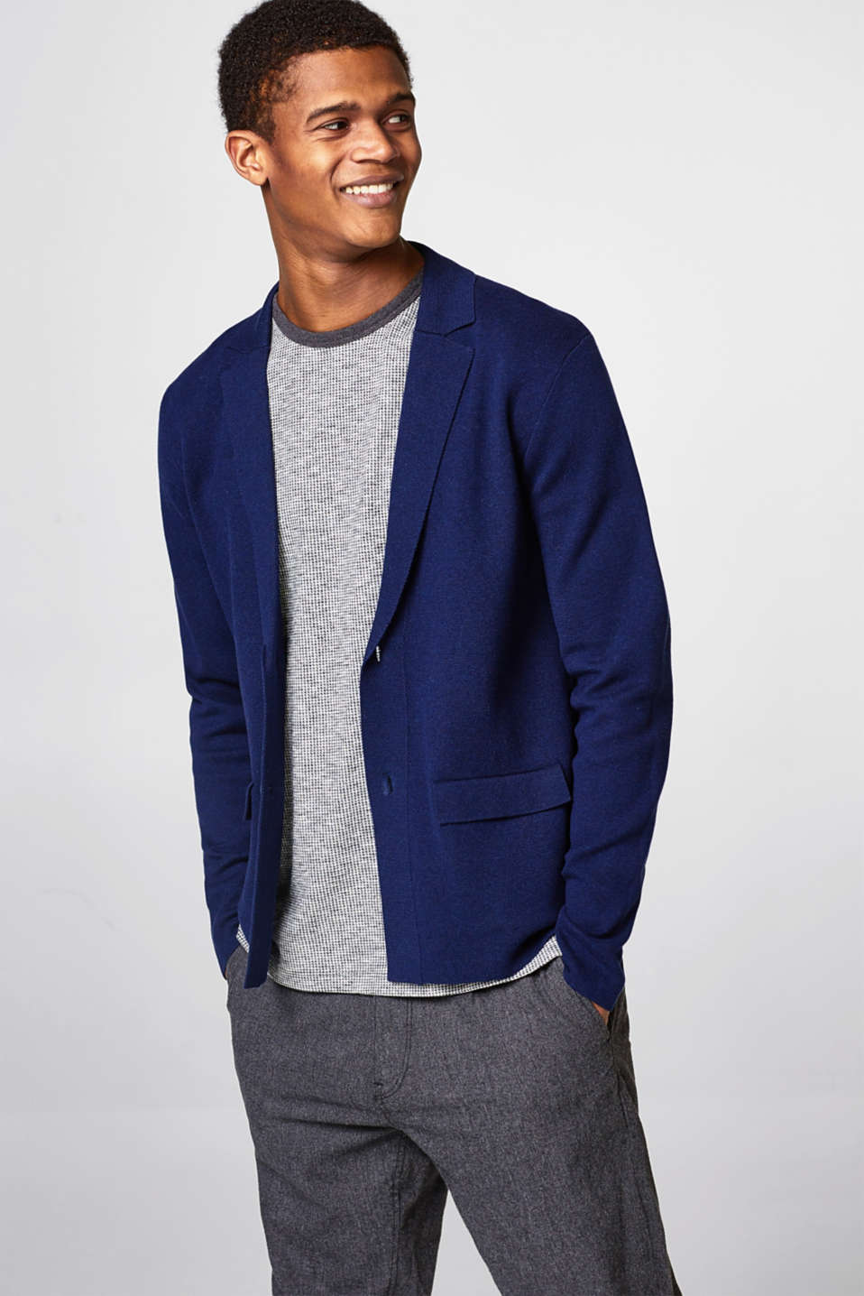 Esprit - Knitted blazer in pure cotton