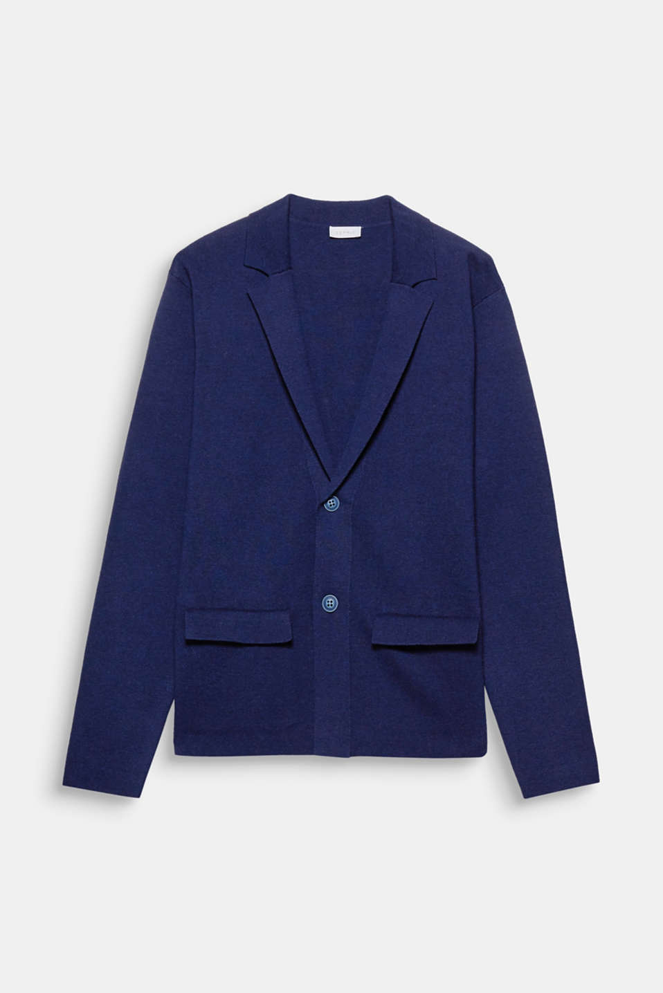 We love knitwear! The fine knit gives this blazer a cool but fine look.