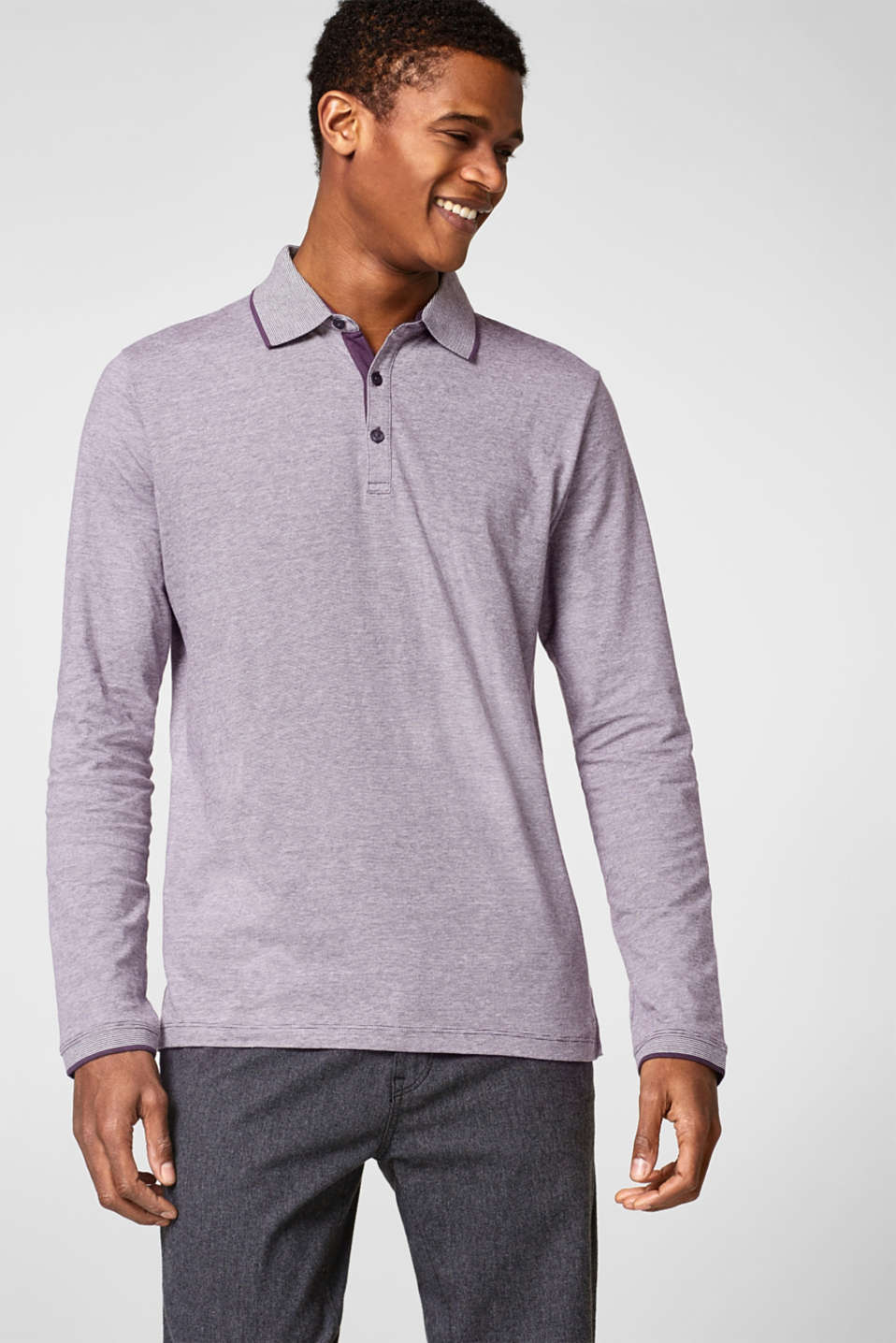 Esprit - Long sleeve polo top in cotton jersey