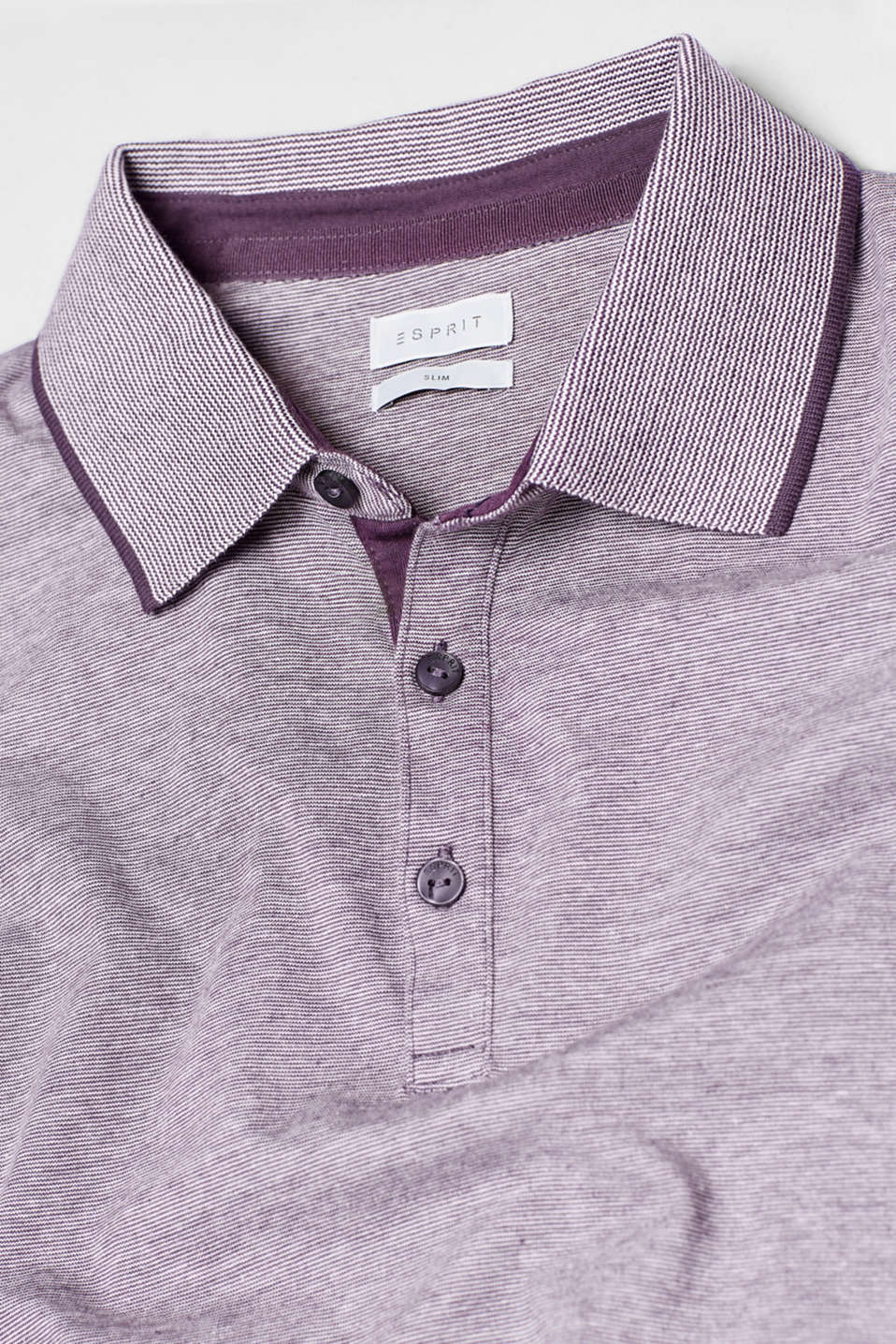 Long sleeve polo top in cotton jersey