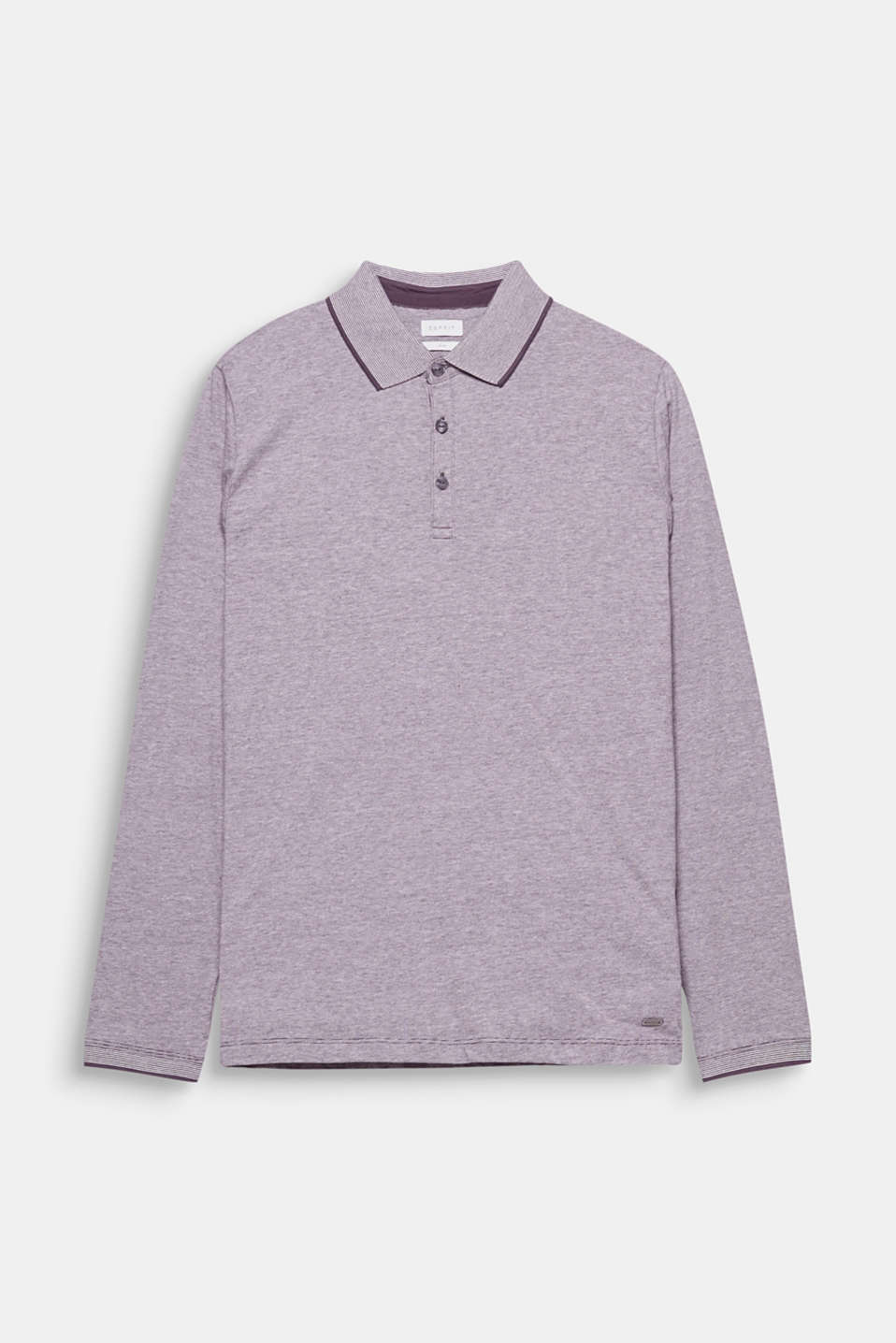 The thickly ribbed collar and the finely melange jersey give this polo long sleeve top a fine look.