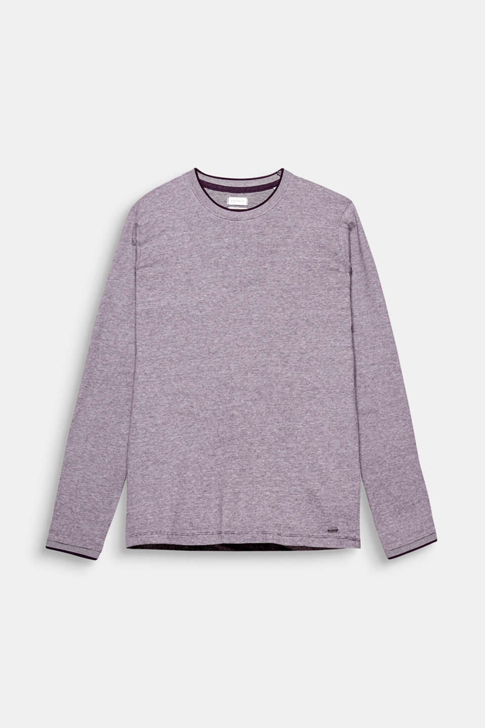 The narrow ribbed borders give this long sleeve jersey top a sporty, yet smart look.