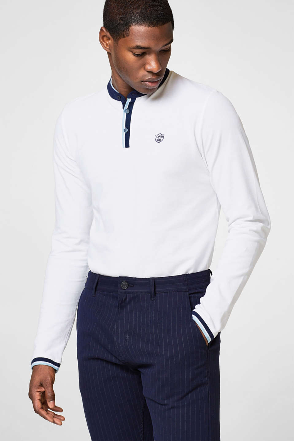 Esprit - Long sleeve polo shirt in 100% cotton