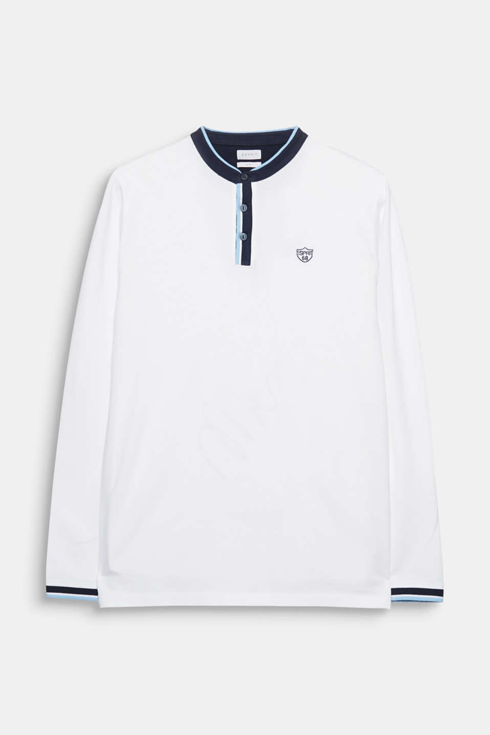 The classic polo shirt style and the soft cotton fabric give this long sleeve top its special look.