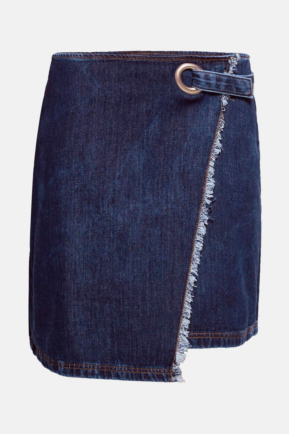 This denim skirt with an asymmetric, wrap-over effect front and casual frayed edges is both cool and trendy.