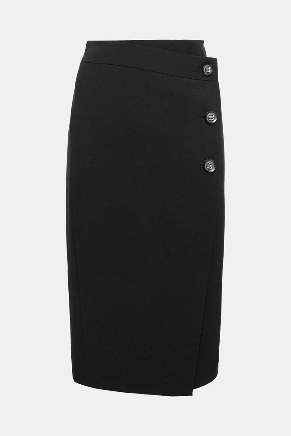 The fashionable midi length and wrap-over effect with a button placket give this skirt is particular charm.