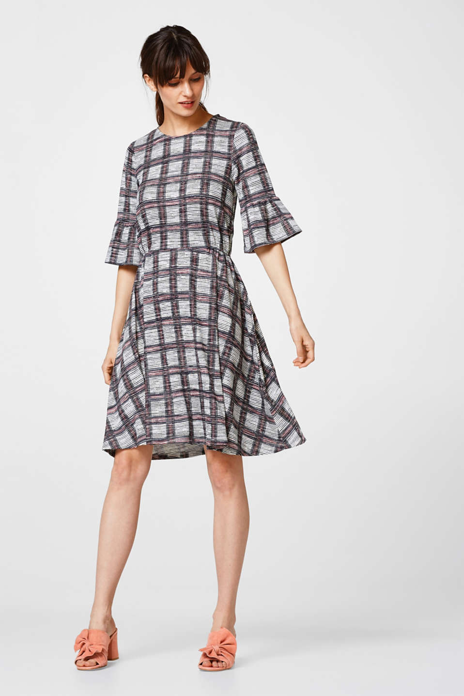 Stretch jersey dress with frilled sleeves