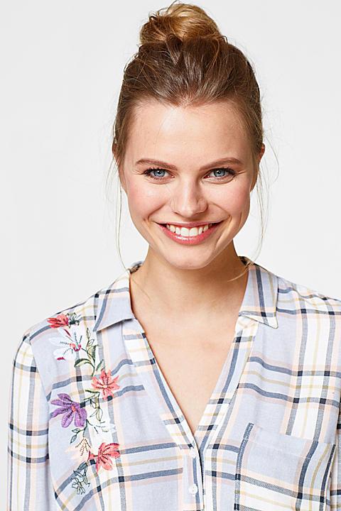 Karierte Bluse mit Blumen-Stickerei