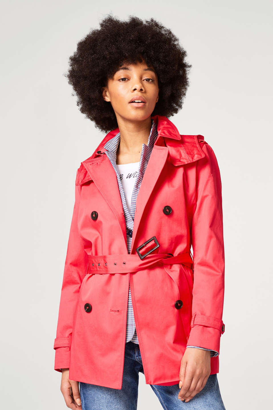 Esprit - Cotton trench coat with an adjustable hood