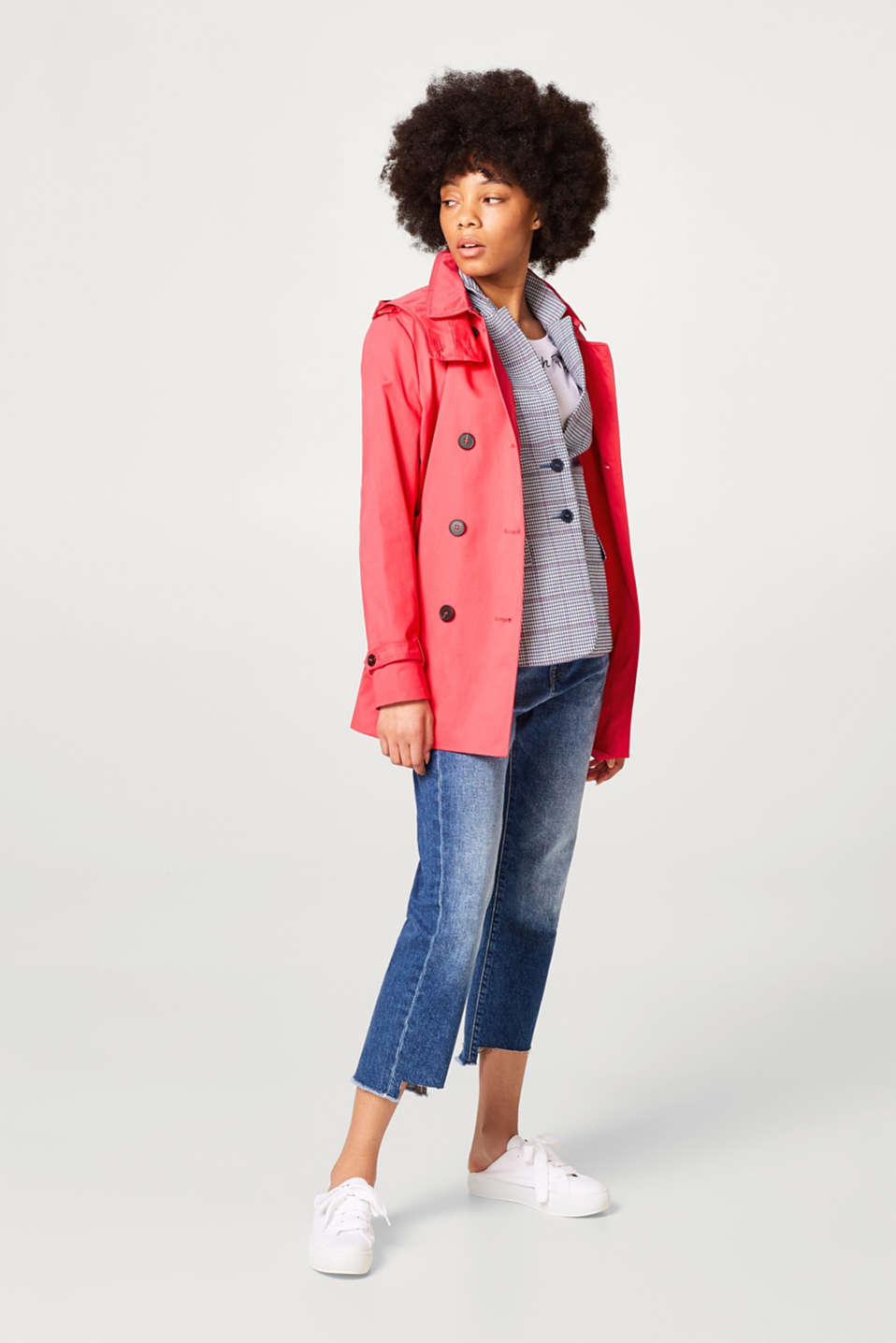 Cotton trench coat with an adjustable hood