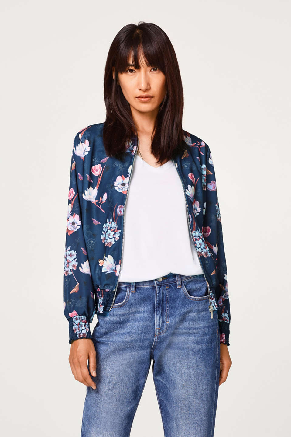 Esprit - Bomber jacket in a floral material mix