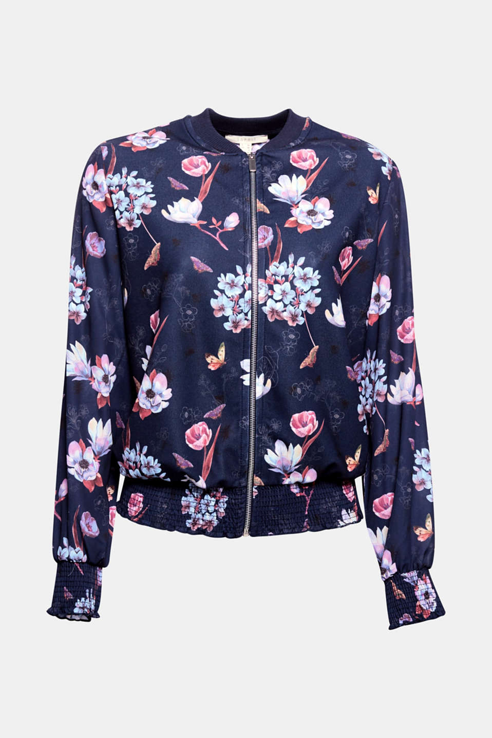 The colourful floral print gives this bomber jacket made of jersey and cloth its feminine, springtime flair!