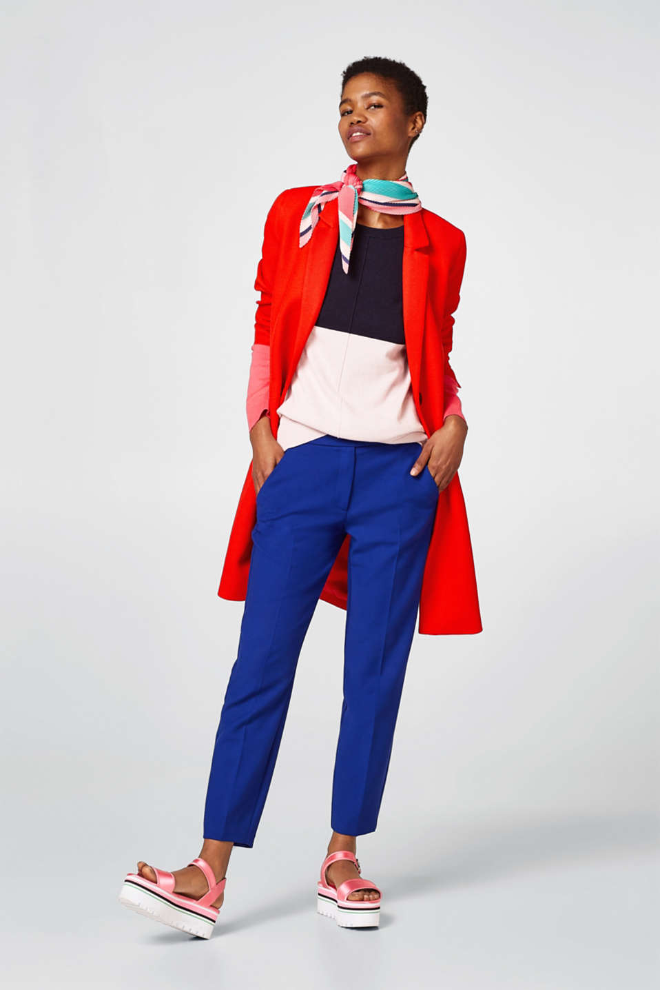 Colour block jumper with cashmere