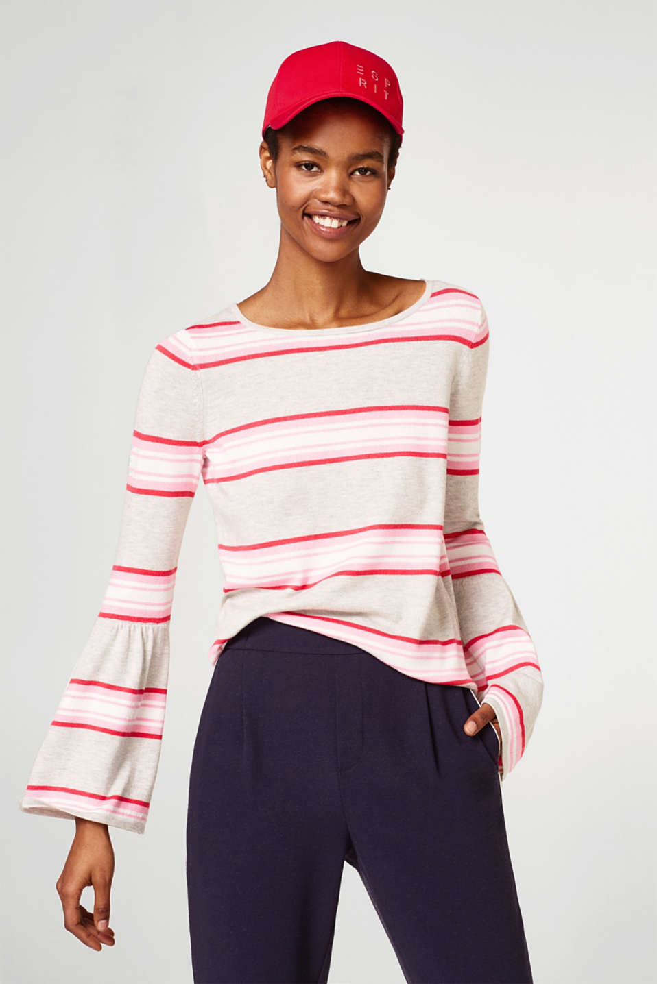 Esprit - Striped jumper with trumpet sleeves