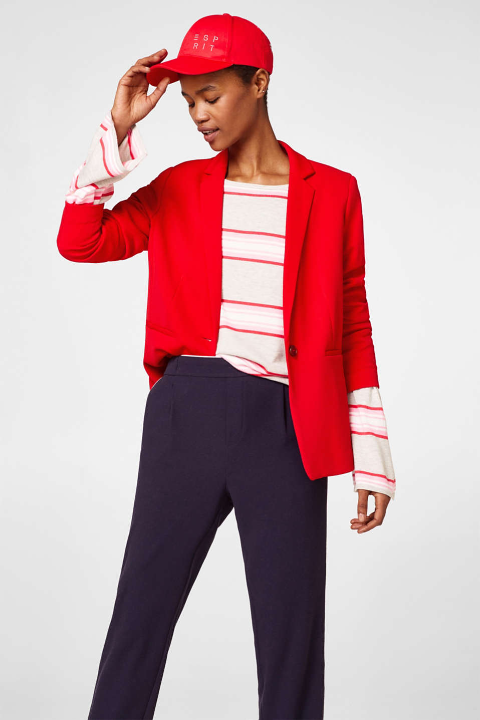 Striped jumper with trumpet sleeves