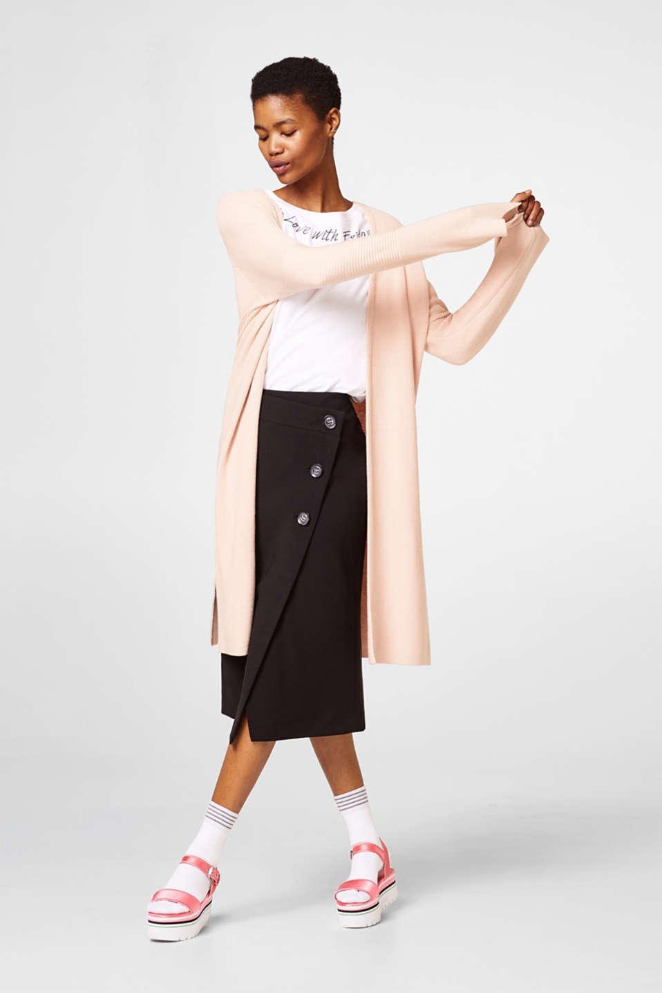 Long cardigan with a ribbed texture