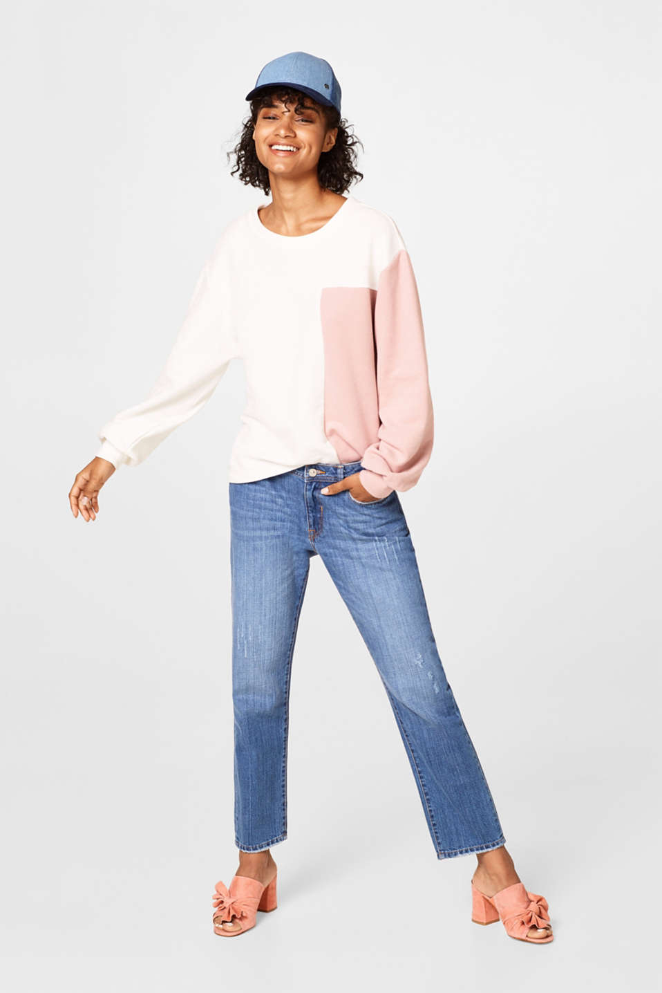 Soft colourblock sweatshirt, balloon sleeves