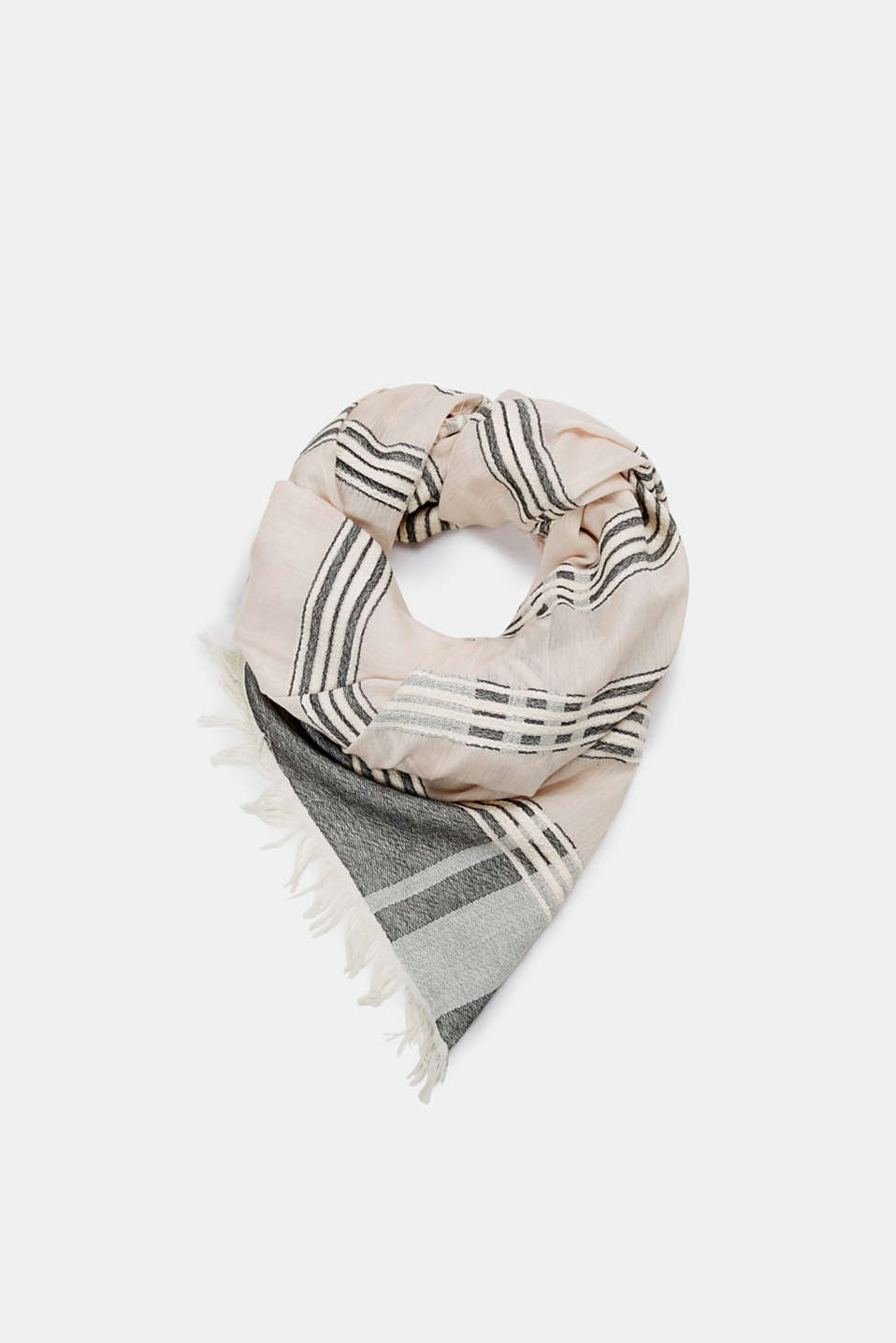 edc - Woven scarf with textured stripes