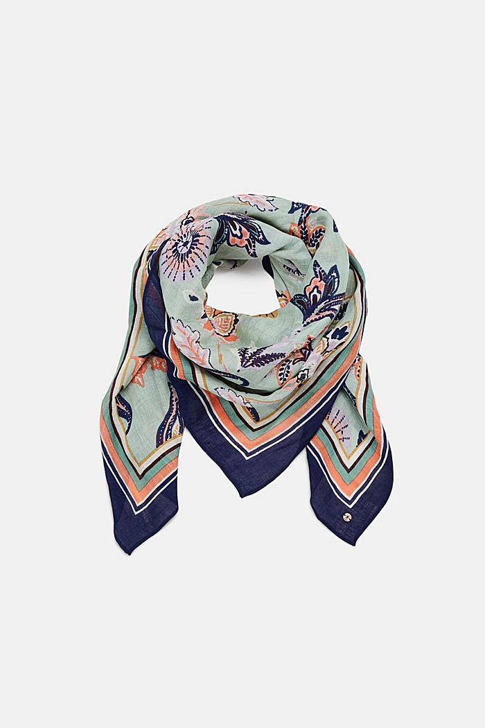 Lin mélangé: le foulard à imprimé fleuri, LIGHT KHAKI, detail image number 0