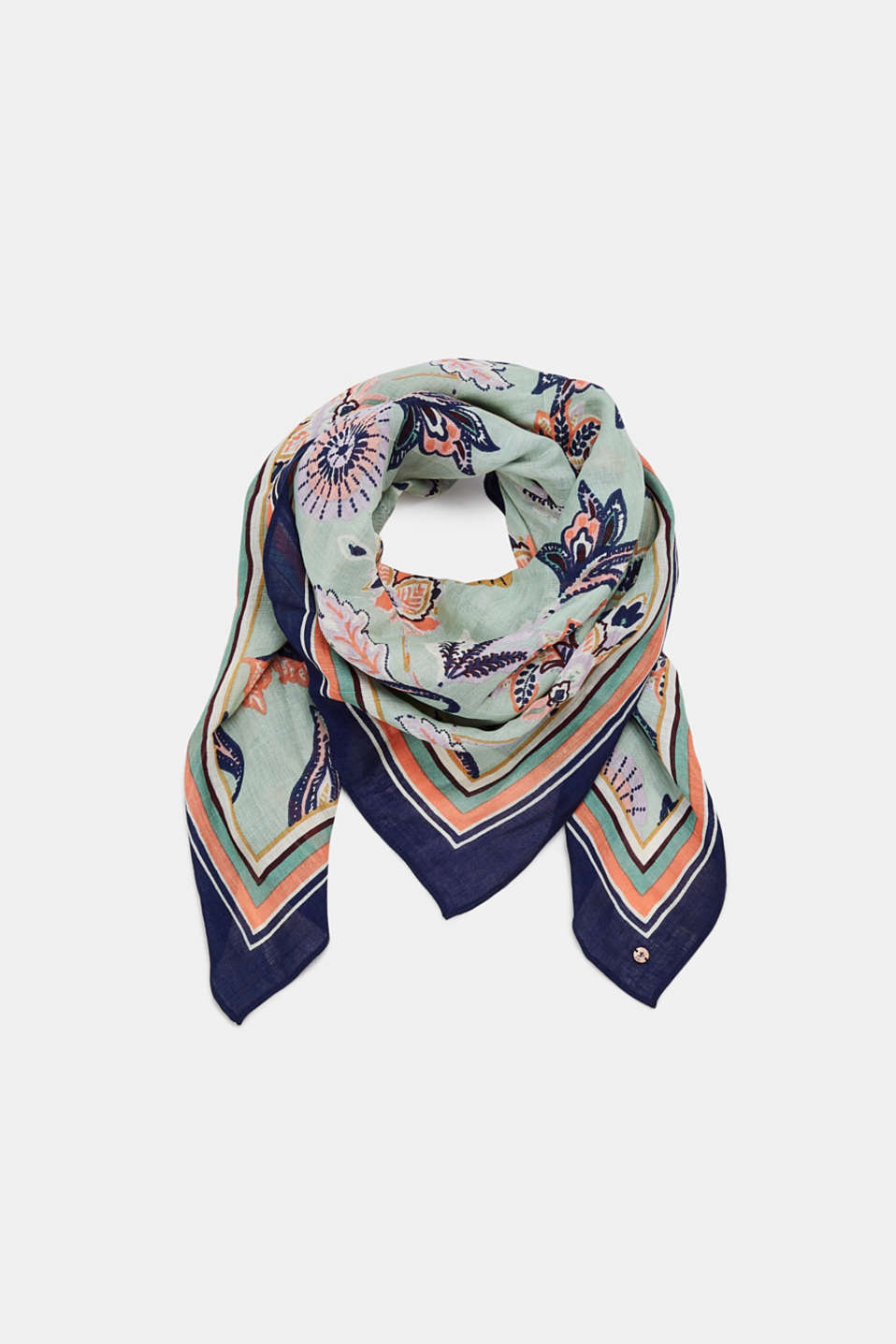 Linen blend: scarf with a floral print, LIGHT KHAKI, detail image number 0