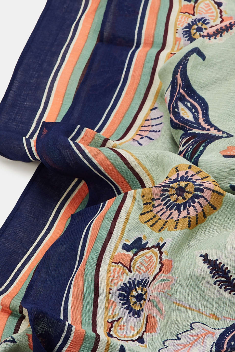 Linen blend: scarf with a floral print, LIGHT KHAKI, detail image number 2