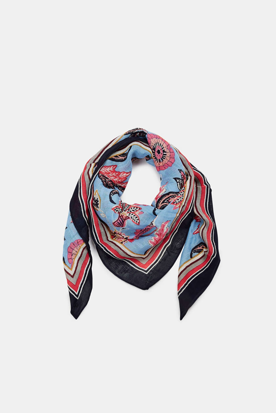 Linen blend: scarf with a floral print, LIGHT BLUE, detail image number 0