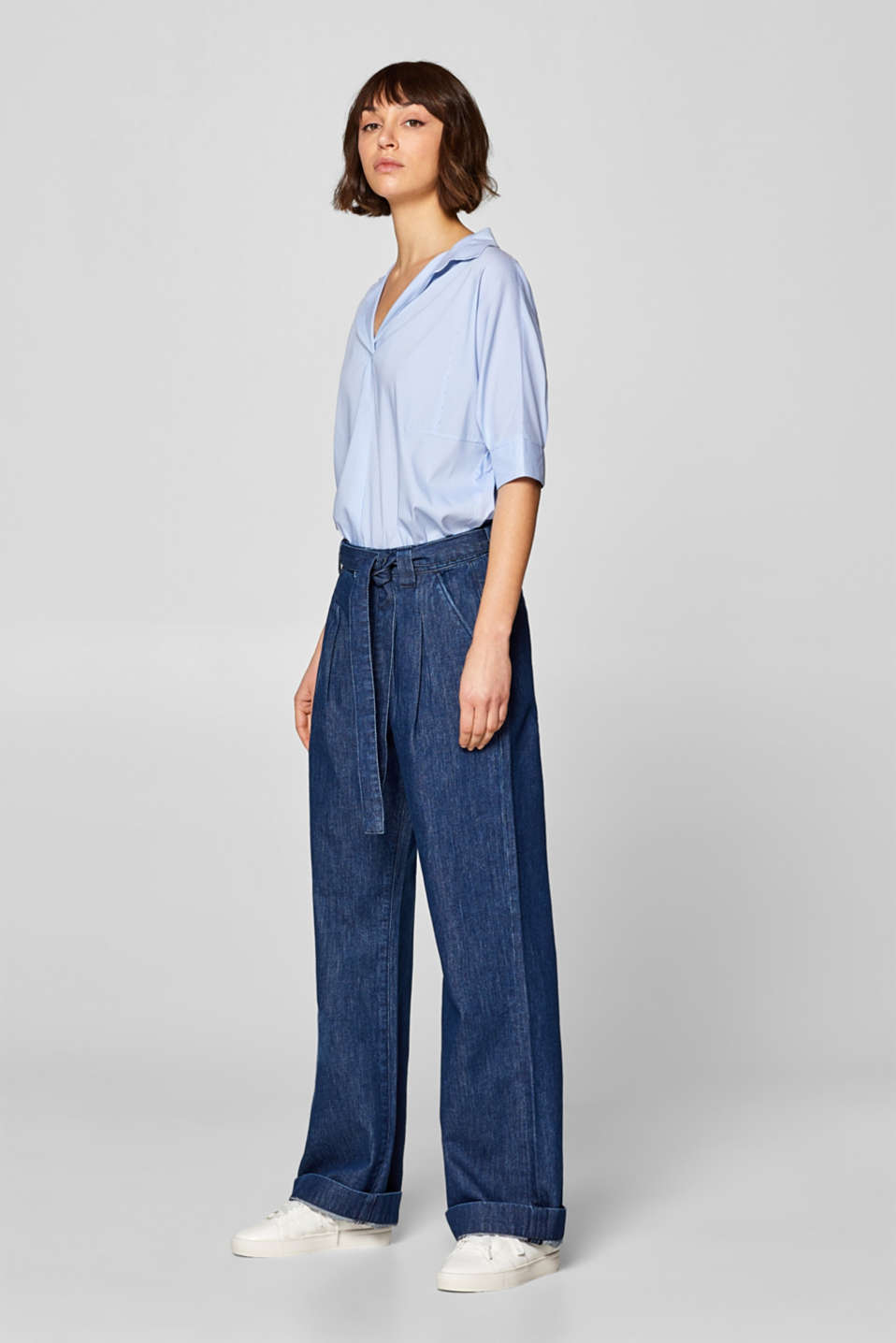 edc - Stretch jeans with a high waistband and a wide leg