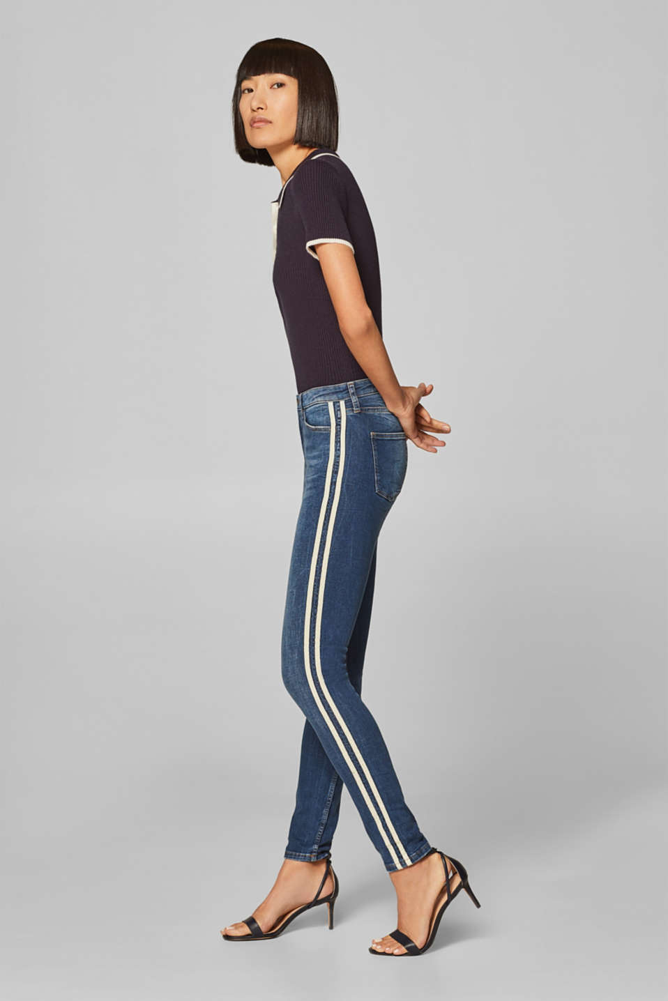 edc - Stretch-jeans med fartstriber