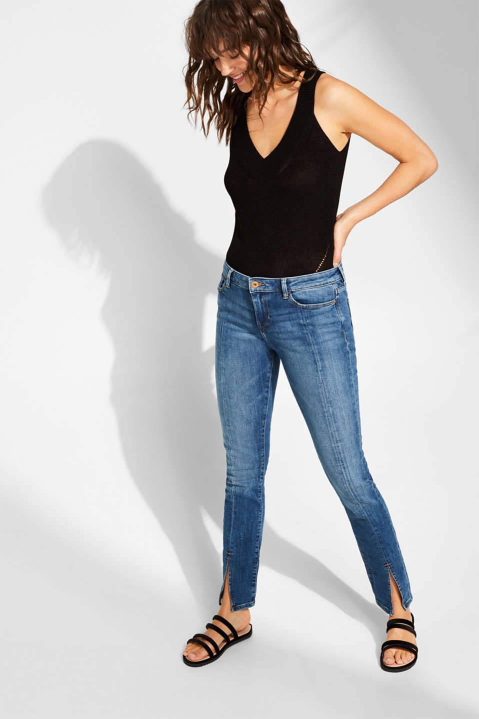 edc - Stretch jeans with central hem slits