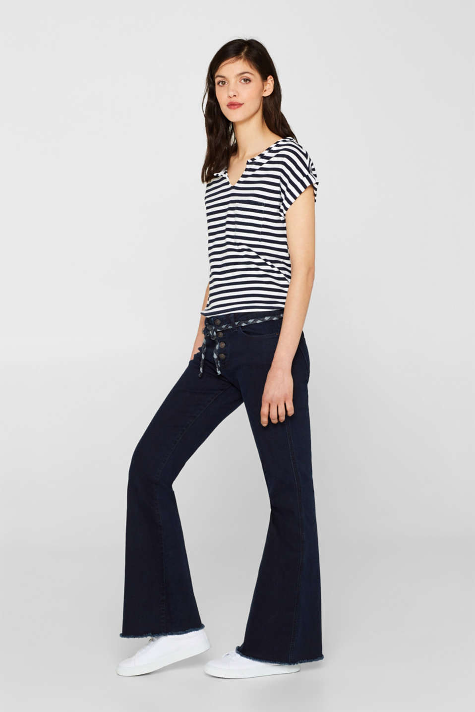 edc - Stretch jeans with a button placket and a boot cut leg