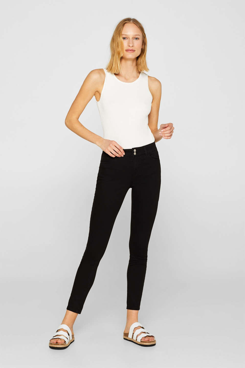 edc - Ankle-length stretch trousers with two-button fastening