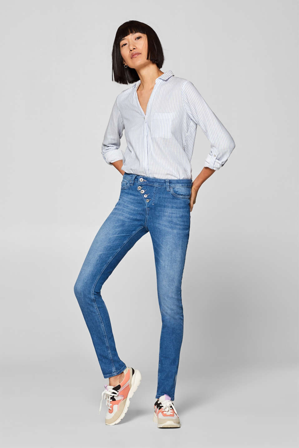 edc - Stretch jeans with a diagonal button placket