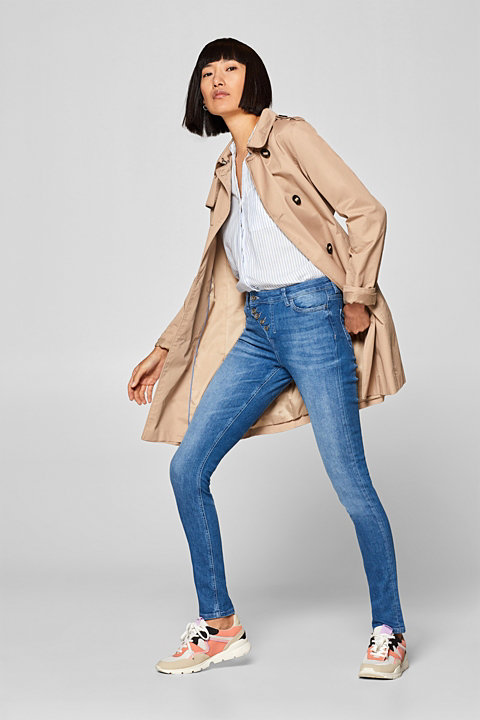 Stretch jeans with a diagonal button placket