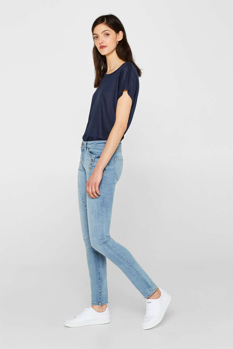 edc - Stretch jeans with decorative button plackets
