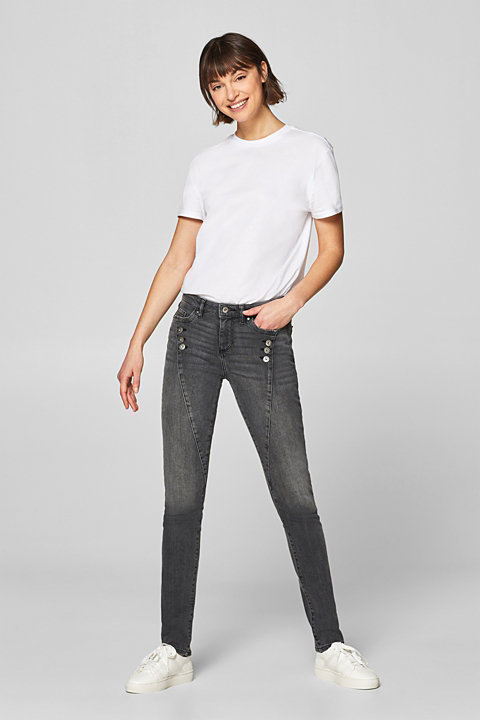 Stretch jeans with decorative button plackets