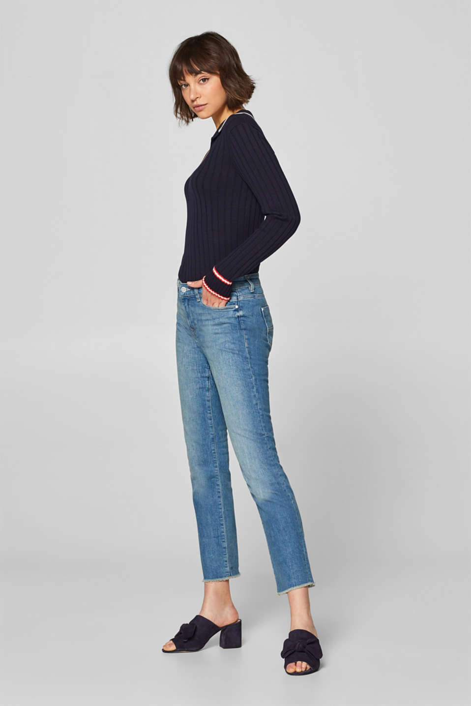 edc - Cropped stretch jeans with frayed hems