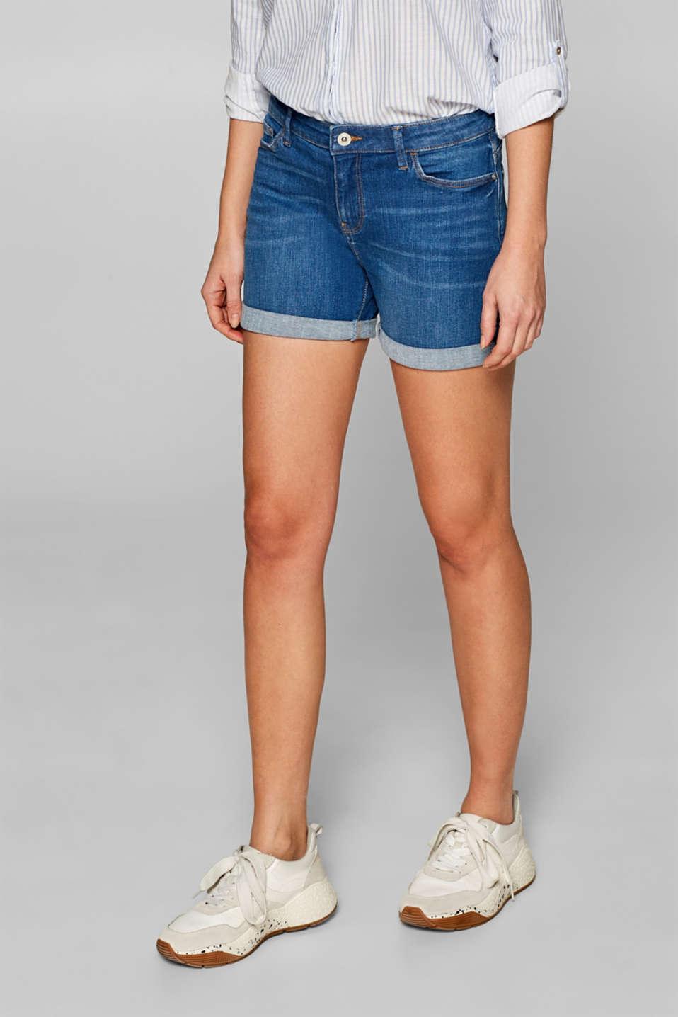 Stretch denim shorts with whiskering, BLUE MEDIUM WASH, detail image number 7