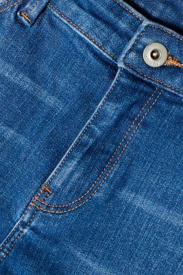 Stretch denim shorts with whiskering, BLUE MEDIUM WASH, detail