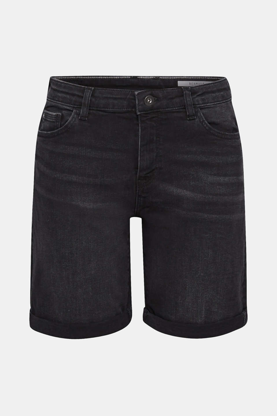 Stretch denim bermudas with whiskering, BLACK DARK WASH, detail image number 7