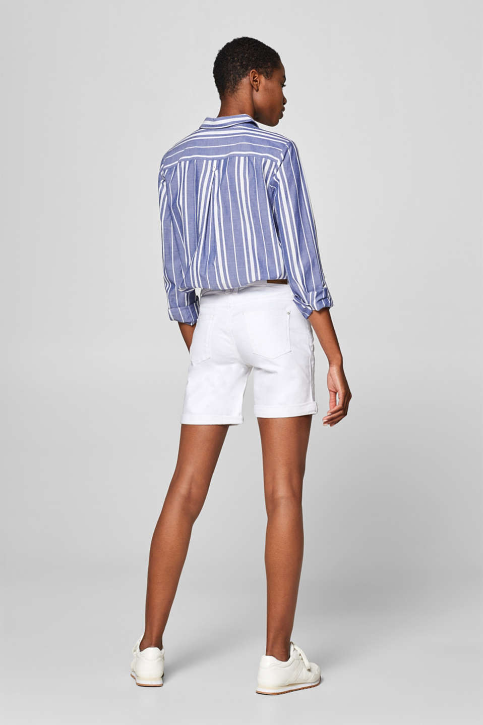 Stretch denim bermudas in a basic style, WHITE, detail image number 3