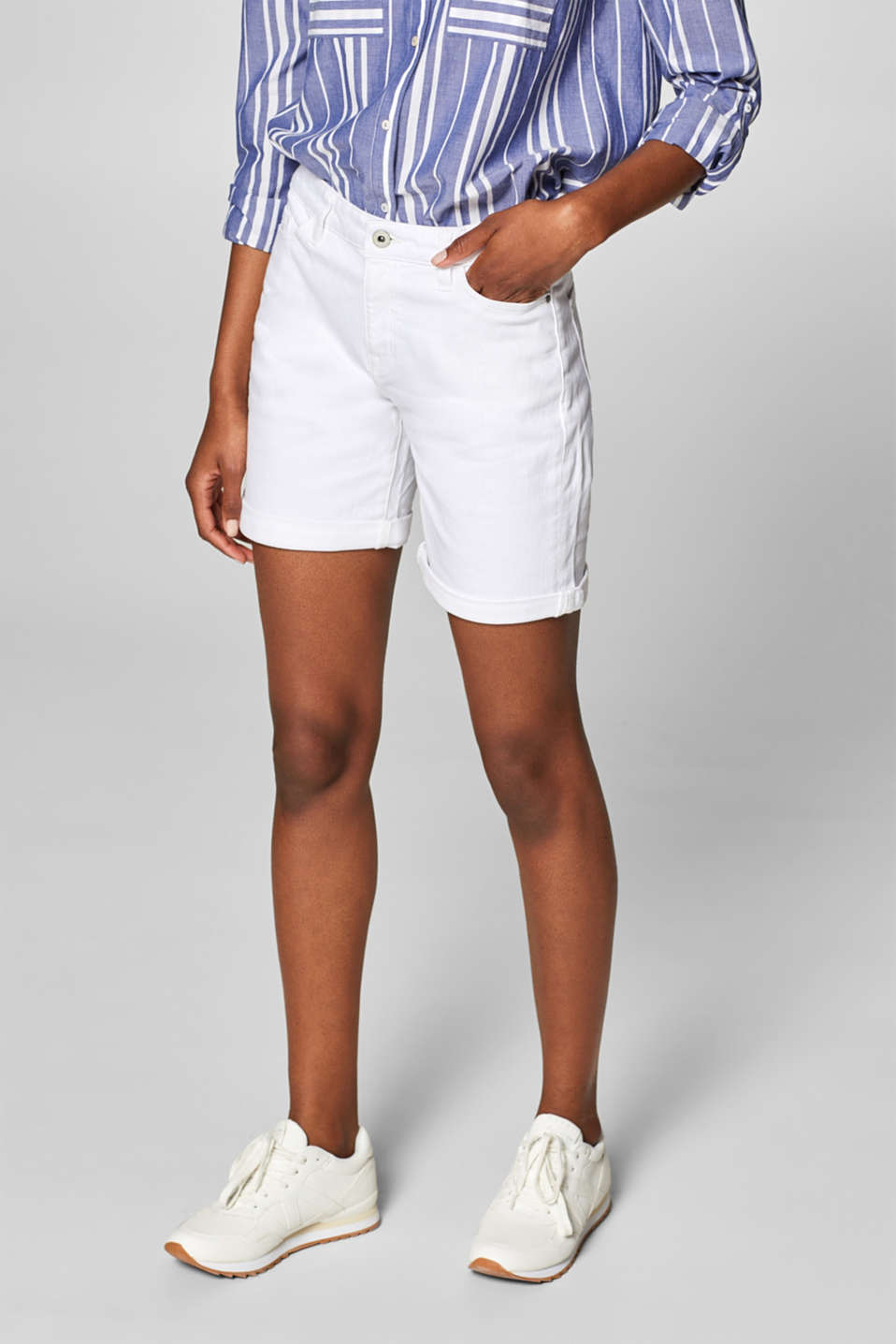 Stretch denim bermudas in a basic style, WHITE, detail image number 6