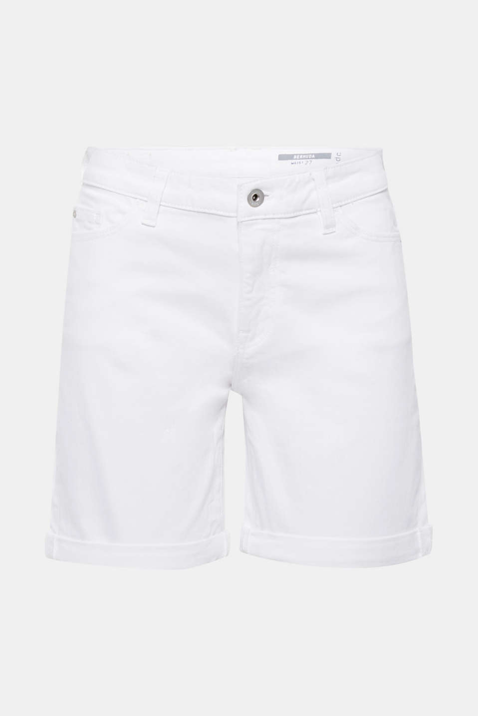 Stretch denim bermudas in a basic style, WHITE, detail image number 7