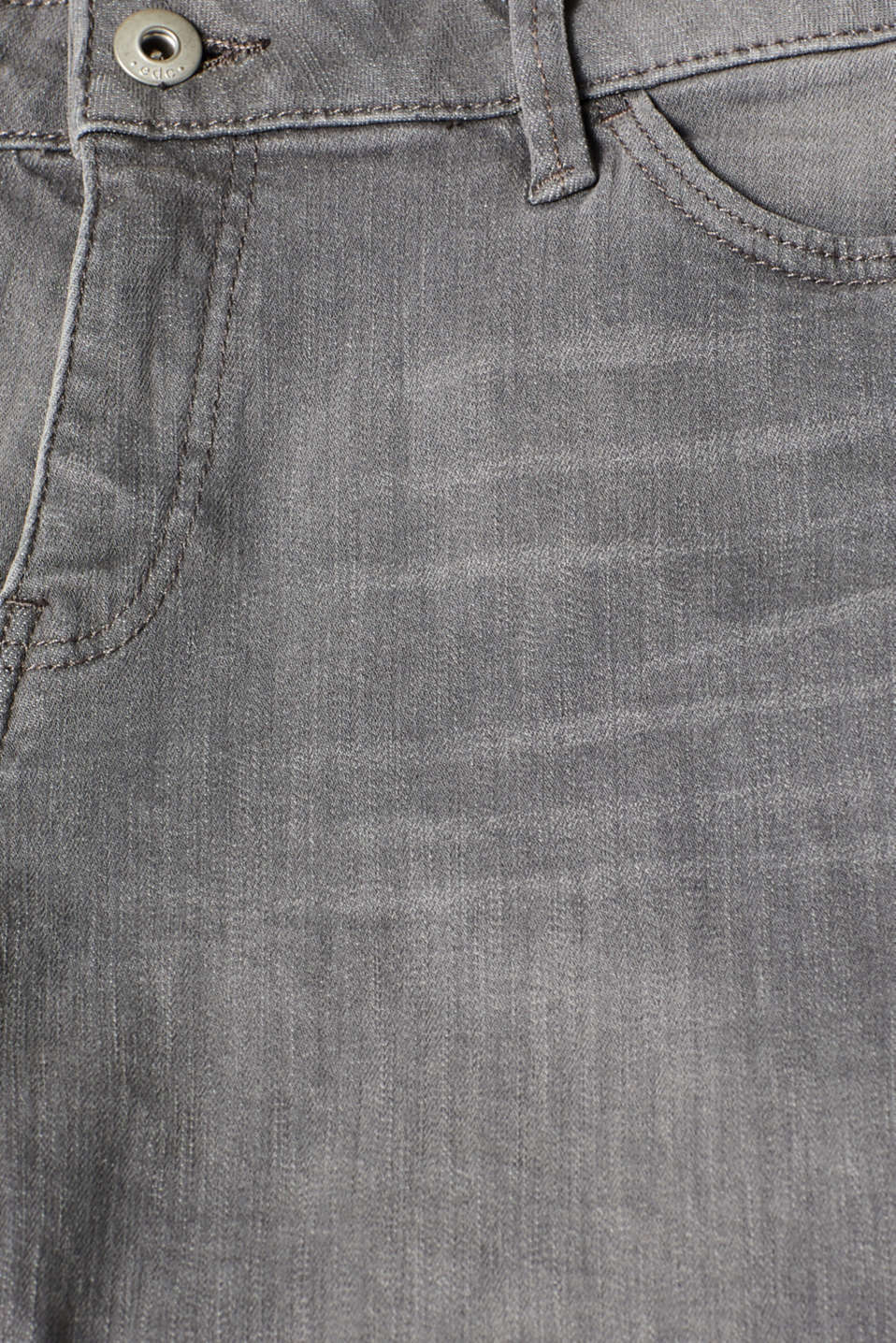 Stretch denim shorts with whiskering, GREY LIGHT WASH, detail image number 4