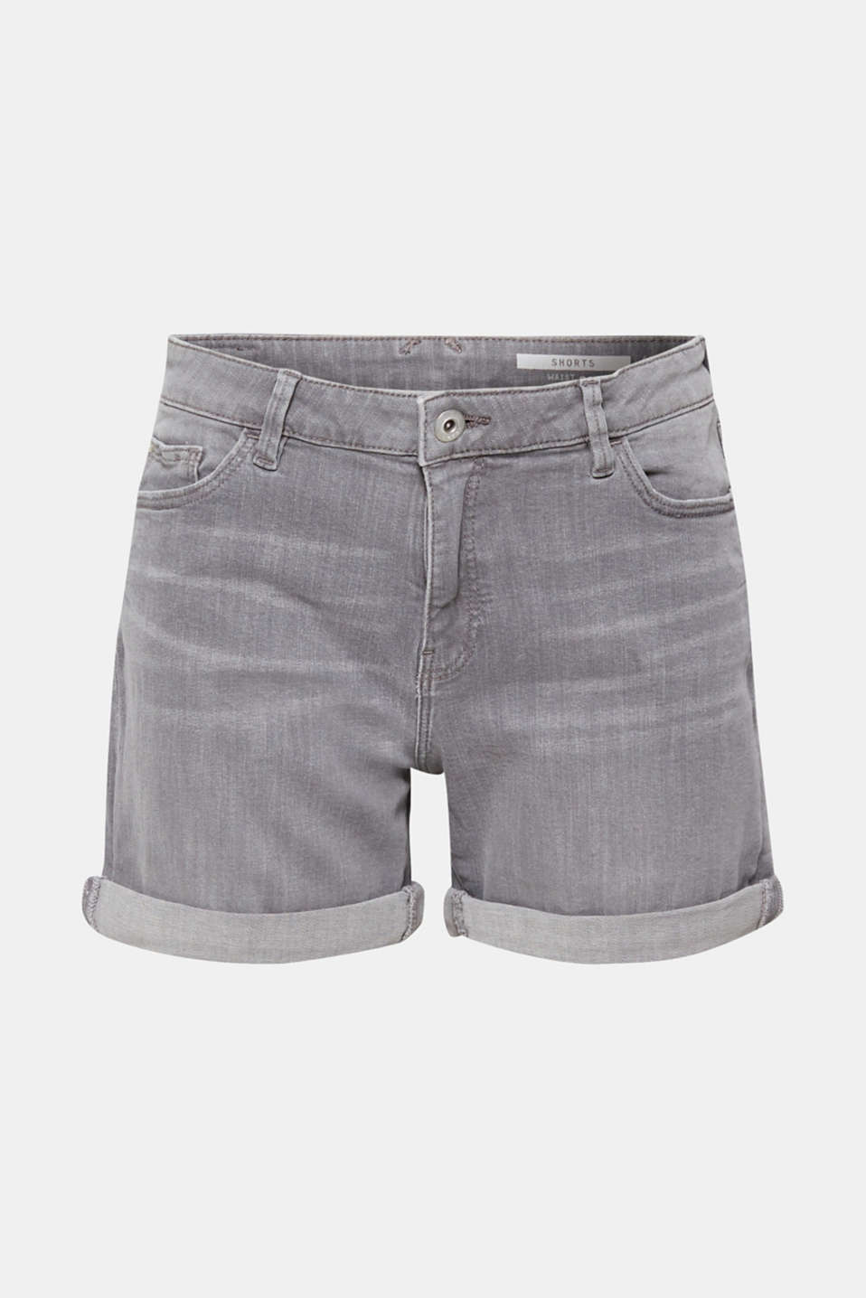 Stretch denim shorts with whiskering, GREY LIGHT WASH, detail image number 6