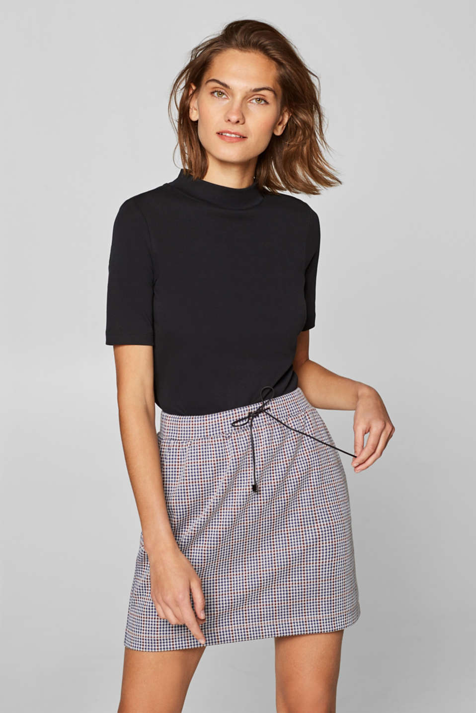 edc - Stretch jersey skirt with a jacquard check pattern